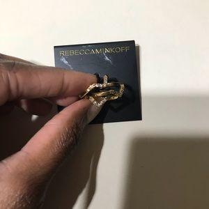 Bnwt Rebecca Minkoff Gold Chevron Stack Rings 7